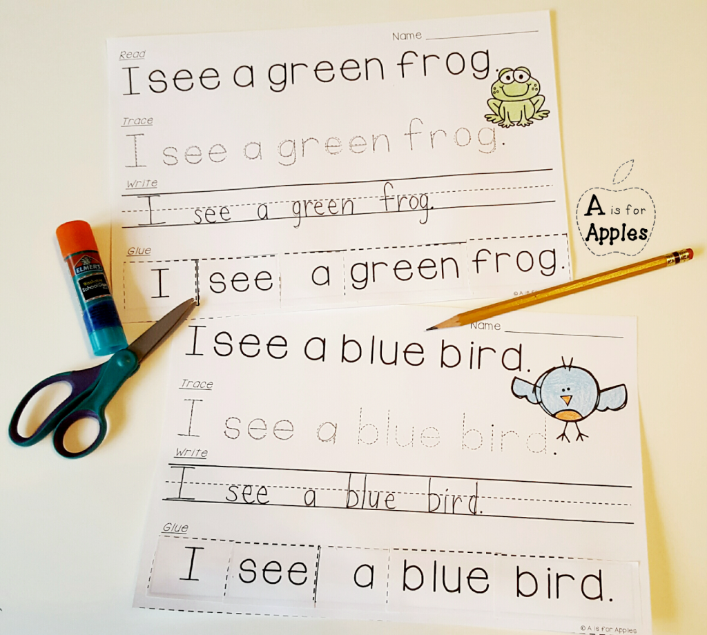 color fun activities read-trace-write-glue sentences
