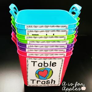table trash bins